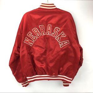Vintage Nebraska Satin Varsity Lined Jacket USA